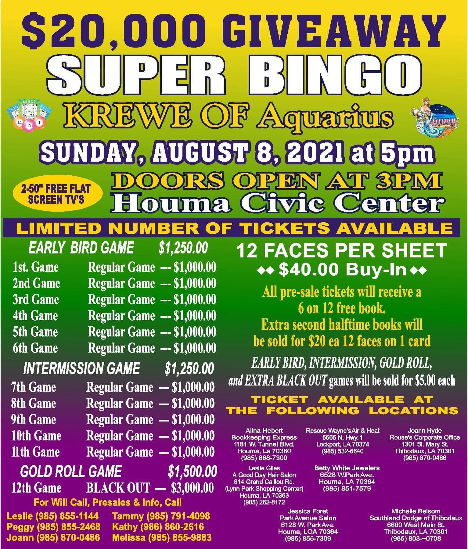 Aquarius Super Bingo - August 8 2021 - Flyer